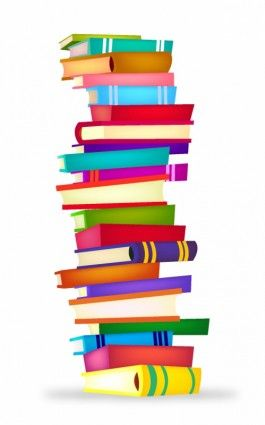 Graphic drawing of a pile of books