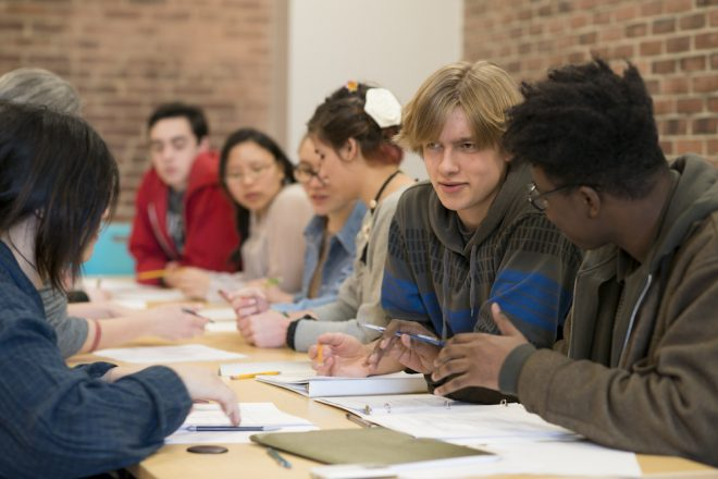Photograph of Baltimore School for the Arts students discussing topics in class