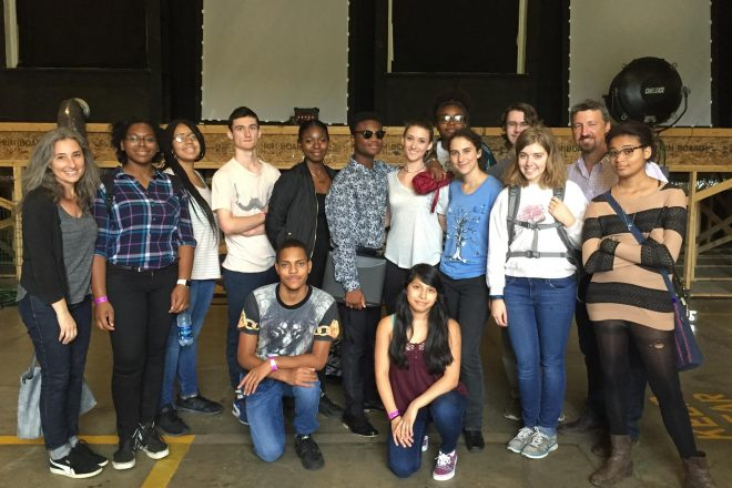 Photograph of Baltimore School for the Arts students touring the House of Cards set