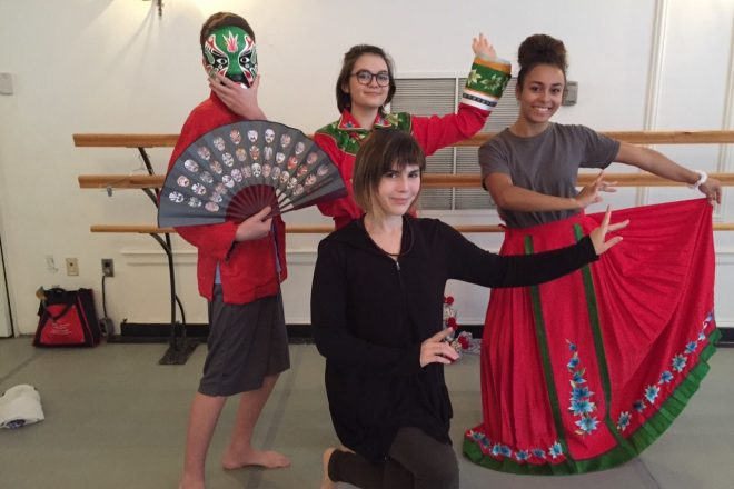 Photograph of Baltimore School for the Arts students working on Chinese Opera Techniques