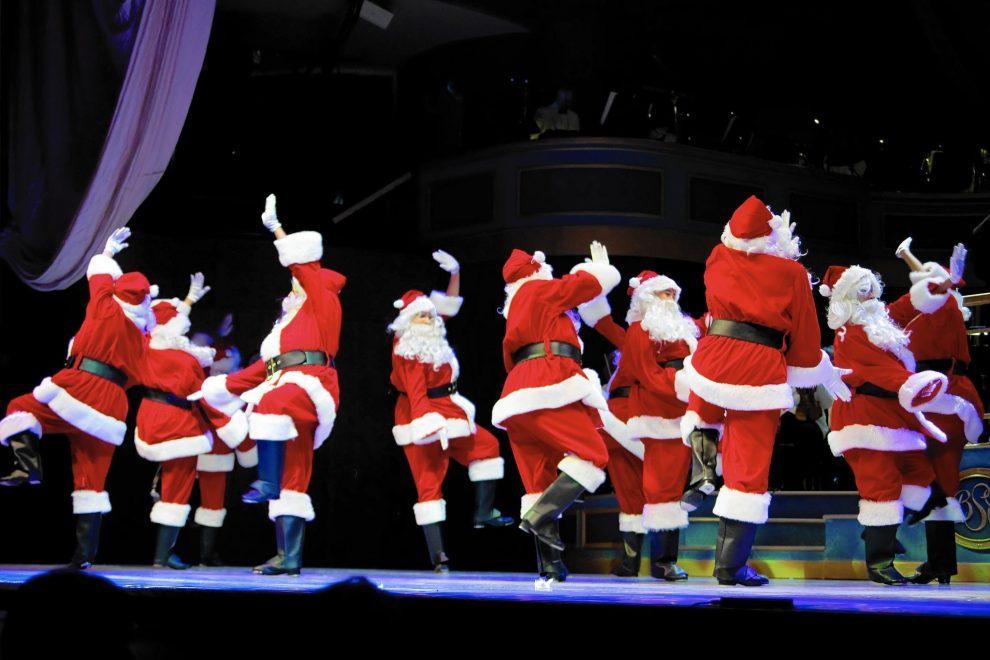 Photograph of santas tap dancing