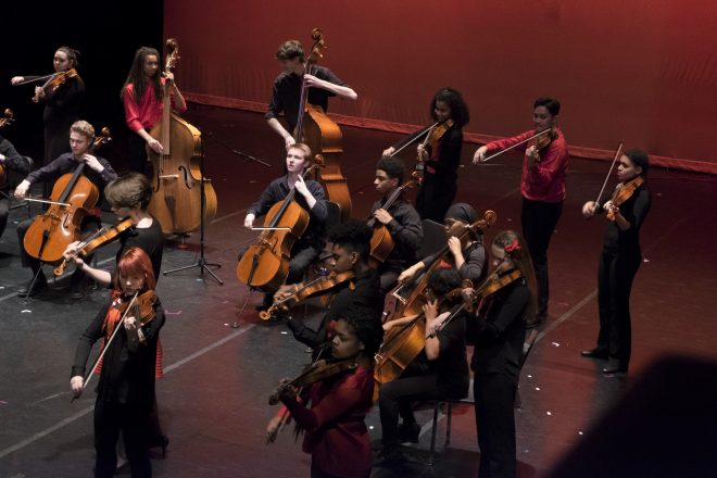 Baltimore School of the Arts students performing onstage