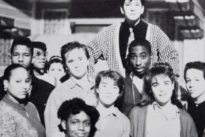 Black and White photo of Baltimore School for the Arts students featuring Tupac Shakur