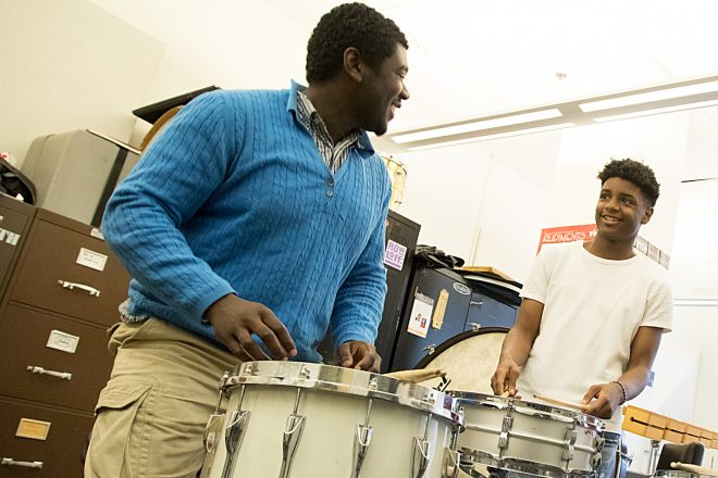 Image of Baltimore School for the Arts students playing drums