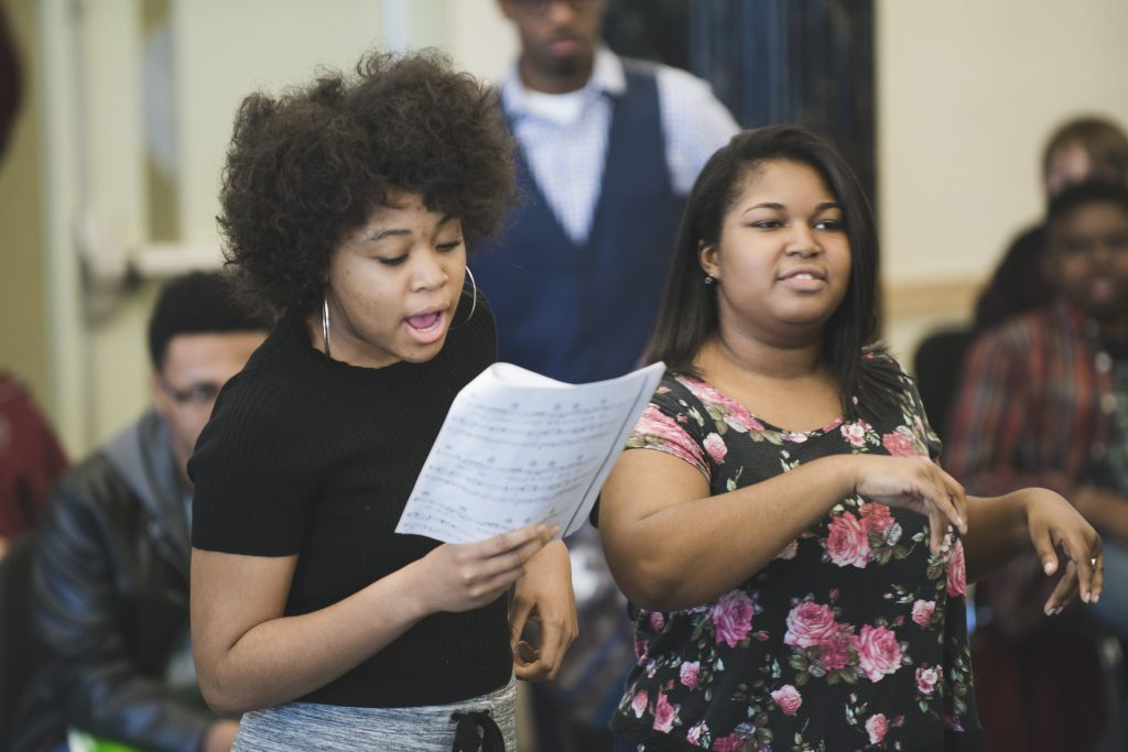Image of Baltimore School for the Arts students singing together