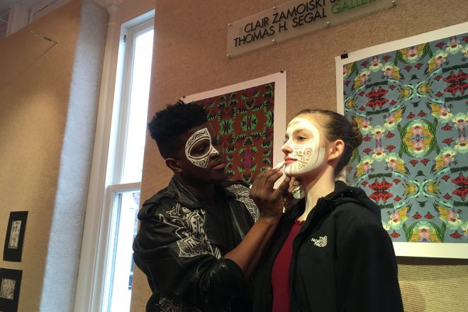 Image of Baltimore School for the Arts students doing makeup