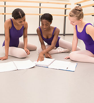Photograph of Baltimore School for the Arts ballet students studying