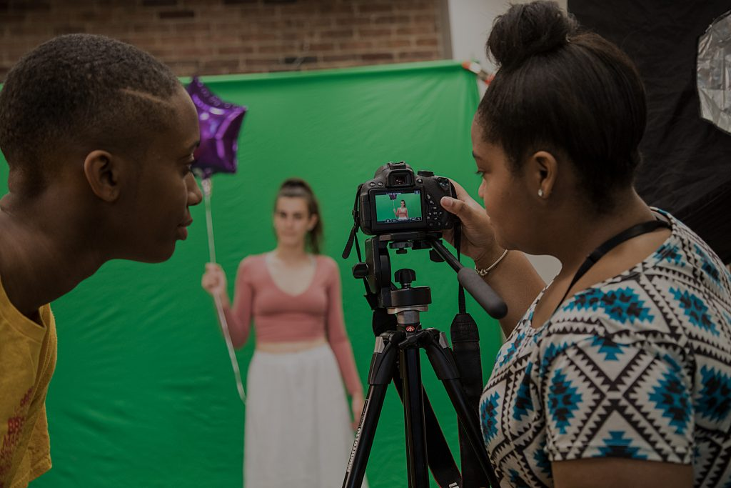 Photographs of Baltimore School for the Arts film students in action