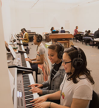Photograph of Baltimore School for the Arts music students practicing