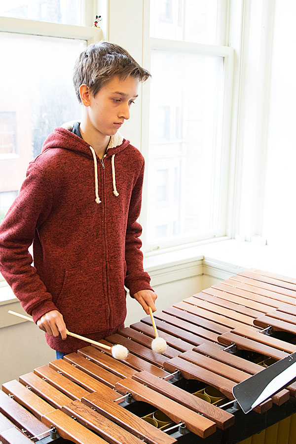 Photograph of Baltimore School for the Arts music student playing vibraphone