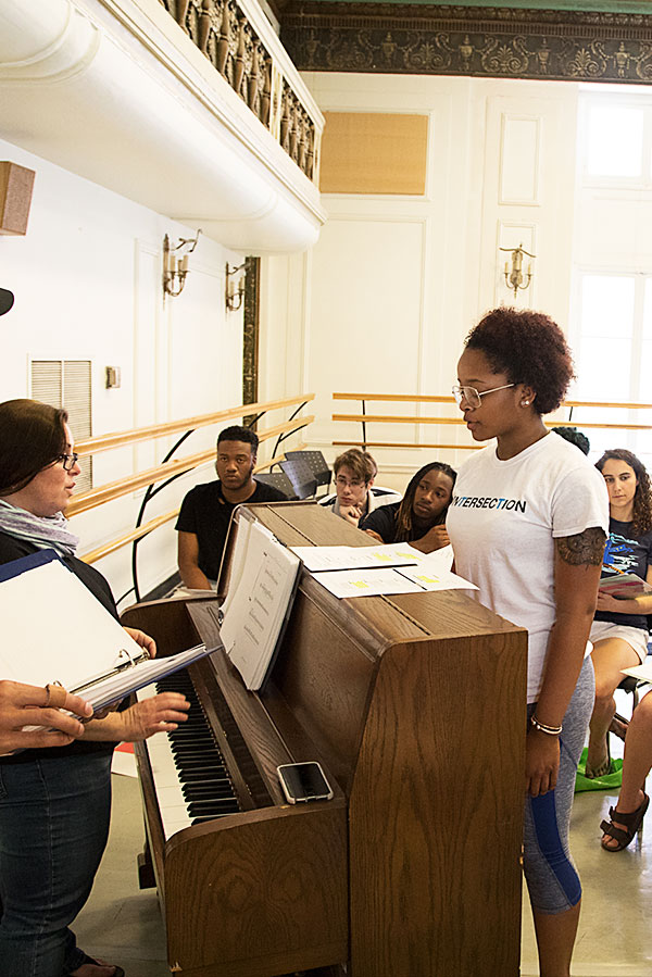 Photograph of Baltimore School for the Arts theatre students practicing singing
