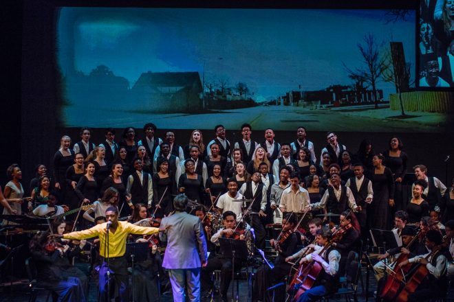 Image of Baltimore School for the Arts students performing on stage