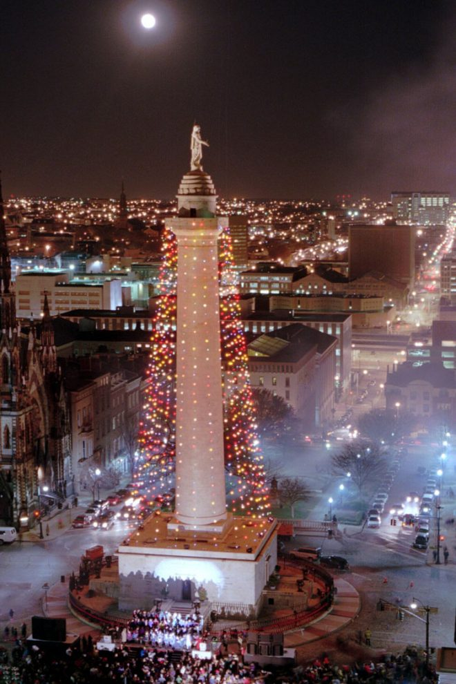 Photograph of the Baltimore Washington Monument Lighting during the holidays