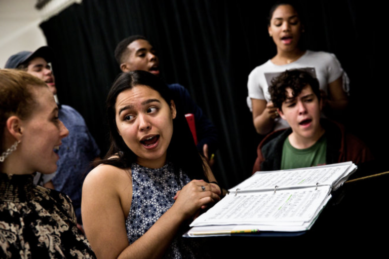 Photograph of Baltimore School for the Arts chorale students practicing