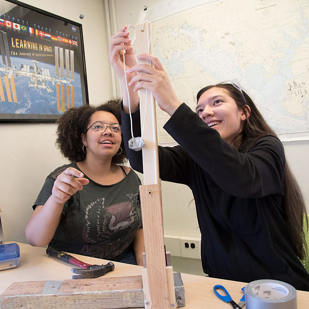 Photograph of BSFA students building a project