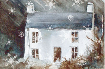Painting of a house in winter