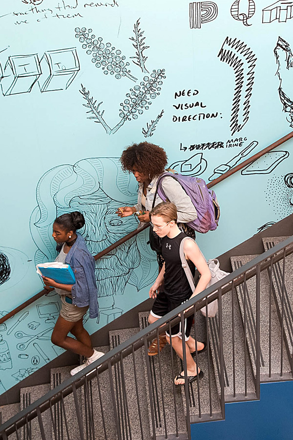 Image of Baltimore School for the Arts students walking down the steps